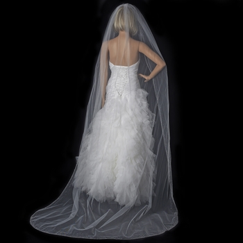 Fine Single Tier Cathedral Length Veil with Crystal Rhinestone & Beaded Edge 139 1C