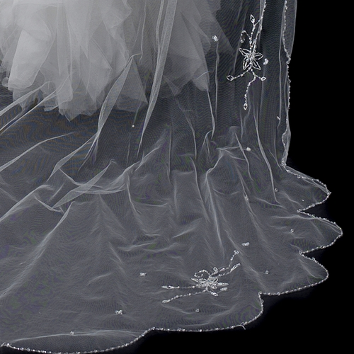 Double Layer Elbow & Cathedral Length Veil with Sparkling Accents V 150