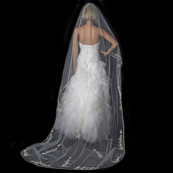 Single Layer Floral Embroidery Cathedral Length Ivory Rum Veil with Satin Ribbon Edge V 882