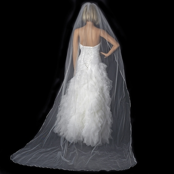 Bridal Wedding Single Layer Pencil Edge Cathedral Length Veil VSH P 1C
