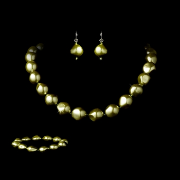 Necklace Earring Bracelet Set 8325 Green