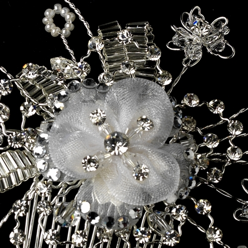 * Stunning Silver Clear Hair Comb w/ Austrian Crystals & White Pearls 1588  ***1 Left***