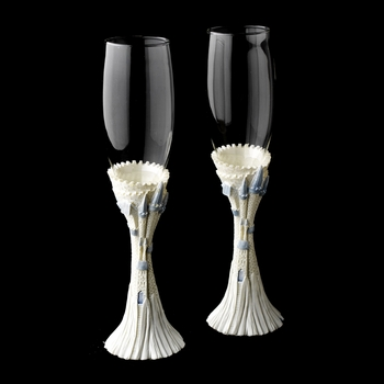Majestic Light Blue Cinderella Castle Wedding Toasting Champagne Flutes****Discontinued****