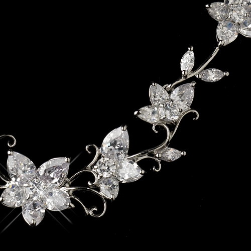 Antique Silver Rhodium CZ Crystal Necklace & Earrings Jewelry Set 1454