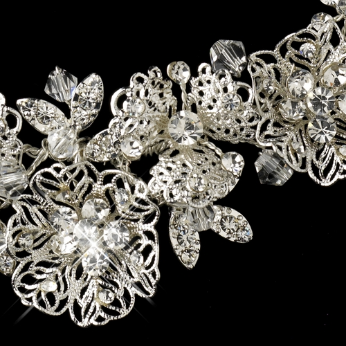 Silver Clear Rhinestone Necklace & Earrings Floral Leaf Jewelry Set 9687