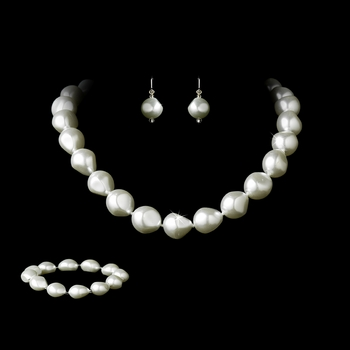 Necklace Earring Bracelet Set 8325 White