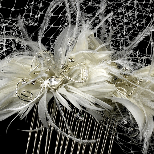 * Captivating Birdcage Veil Comb with Feathers & Austrian Crystals 1135***Discontinued***