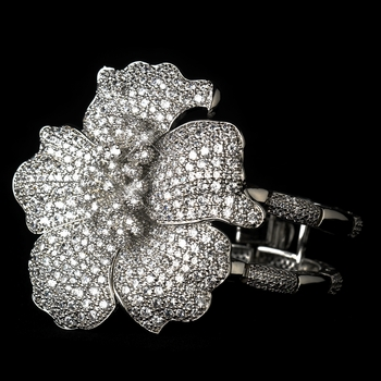Antique Silver Rhodium Clear CZ Crystal Flower Bracelet 1404