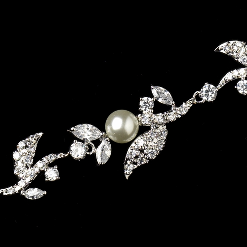 Antique Silver Rhodium Clear White Pearl & CZ Crystal Leaf Bracelet 1412***Discontinued***