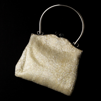 * Gorgeous White Beaded Evening Bag 105***Discontinued***