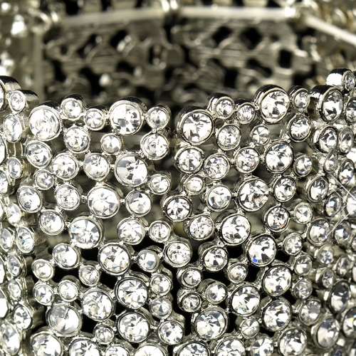 Antique Silver Clear Rhinestone Stretch Bracelet 9977