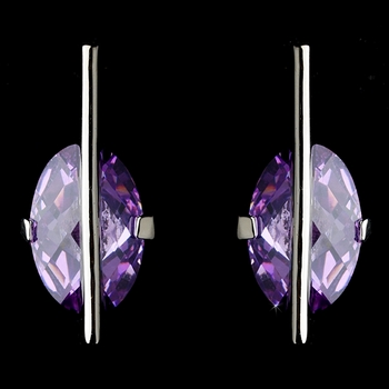 * Fabulous Designer Inspired Silver Earrings w/ Lilac Crystals 3500