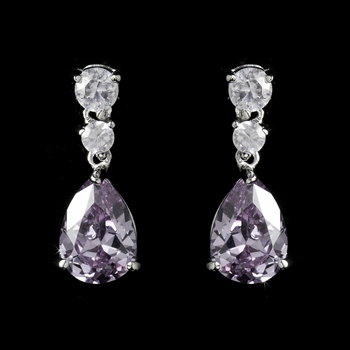 Silver Light Amethyst Cubic Zirconia Earrings E 2845***Discontinued***
