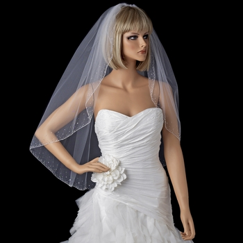 Single layer fingertip length bridal veils with scattered crystals & bugle beads V 139 1F