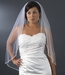 Single layer fingertip bridal veil with tiny pearls and bugle beads V 1554 1F