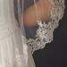 Single Layer Fingertip Length Veil with Floral Lace Embroiderey Edge of Sequins & Beads V 1794
