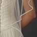 Single Layer Fingertip Length Bridal Veil with Tiny Pearl & Bugle Bead Edge V 4742 1F