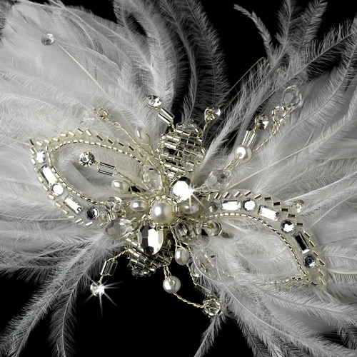 * Elegant White or Ivory Feather Fascinator Comb w/ Rhinestones & Austrian Crystals 2195
