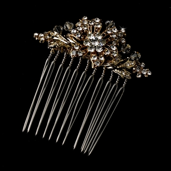 Fabulous Petite Gold Hair Comb w/ Clear Rhinestones & Austrian Crystals 6287
