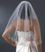 Single Layer Elbow Length Veil with Scalloped Pencil Edge in White or Ivory V 101 1E