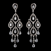 Antique Silver Clear CZ Cystal Chandelier Earring Set 5344