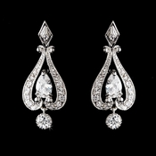 Antique Silver Clear Chandelier Earring Set E 2296 ***Discontinued***