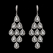 Gorgeous Antique Silver Clear Chandelier Earring E  6662