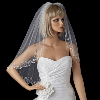 Single Layer Elbow Length Veil with Floral Edge of Embroidery & Sequencing V 1086