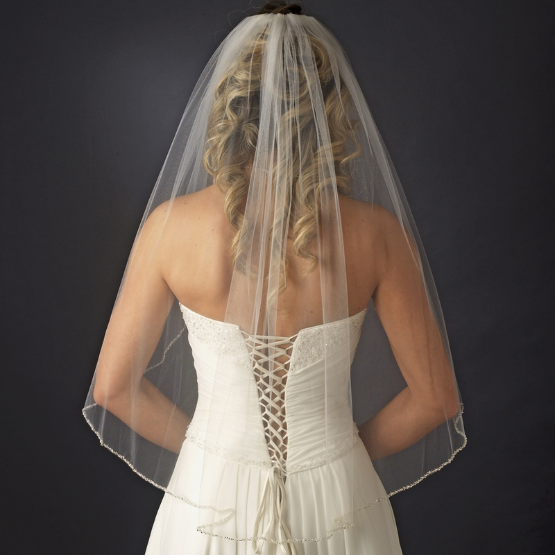 Single Tier Veil With Pearl Amp Bugle Beaded Edge In White