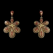 Gold Red Chandelier Earrings 8293