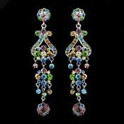 Silver Multi Colored Earring Set 1033