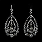 Silver w/ Smoked Crystal Earring Set 24802