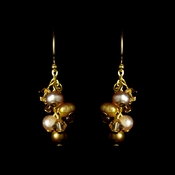 Darling Gold Earrings w/ Brown Freshwater Pearls & Crystal Beads 8249