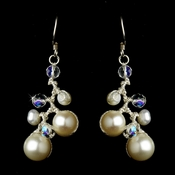 Chic Freshwater Pearl & Aurora Borealis Crystal Bead Earrings 7830