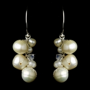 Wonderful Ivory Freshwater Pearl & AB Crystal Bead Earrings 7831