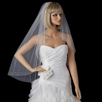 Bridal Wedding Single Layer Elbow Length Veil 520 w/ Scattered Crystals & Pearls