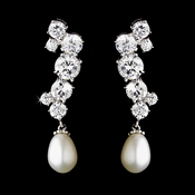 CZ & Freshwater Pearl Dangle Earrings E 3517