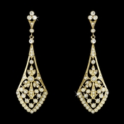 Gold Clear CZ Crystal Vintage Bridal Earrings 3530