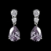 Silver Light Amethyst Cubic Zirconia Earrings E 2845