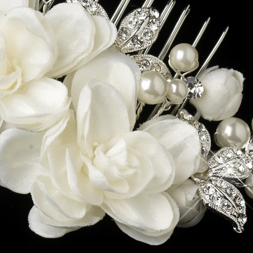 Silver Ivory Floral Flower Hair Accent Pearl & Rhinestone Hair Comb 9504
