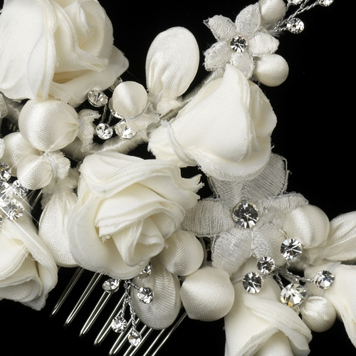 * Silver Ivory Fabric Flower & Rhinestone Hair Comb 9506***Discontinued***