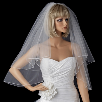 Bridal Wedding Double Layer Elbow Length Pencil Edge Veil VP E