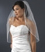 "Bridal Wedding Single Layer Elbow Length 3/8"" Satin Ribbon Edge Veil VS 1E 3/8"
