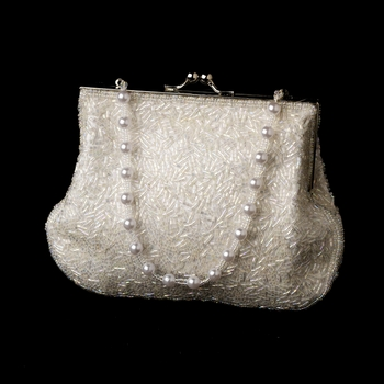 * Glistening White Beaded Satin Evening Bag 2022***Discontinued***