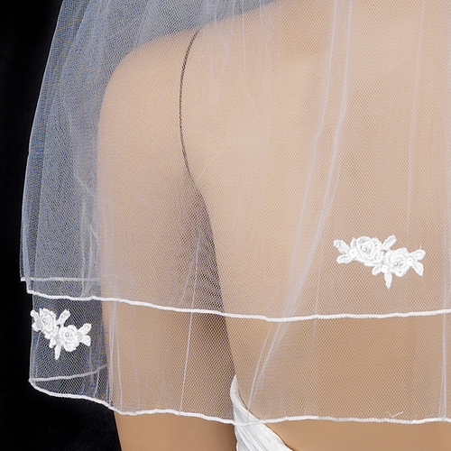 Bridal Wedding Double Layer Shoulder Length w/ Rosette Appliques Veil 510