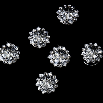 Silver with Clear Stones Floral Hair Accents Twist In's 03 (1 piece)