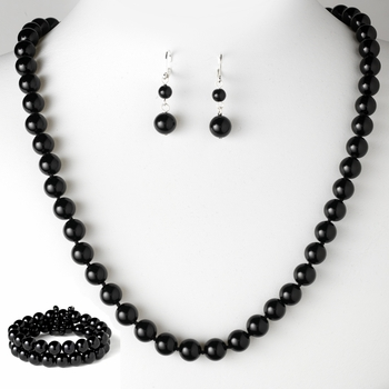 Necklace Earring Bracelet Set 8324 Black