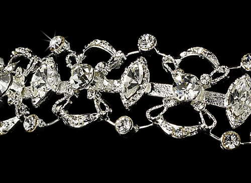 * Rhinestone Bridal Tiara HP 7816***Slightly Irregular Noticeable Yellow Marks On Plating***