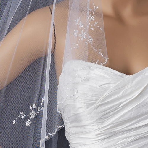 Single Layer Floral beaded Waltz Length bridal wedding Veil 1160