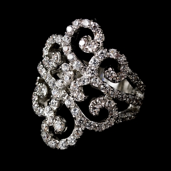 Stunning Swirl Cubic Zirconia Ring 8159 Silver Clear